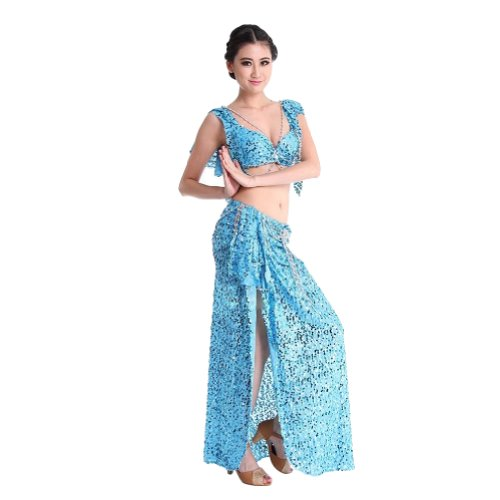 Sexy belly dance Skirt Side Split Sequins Costume 2 Pieces Fancy Dress