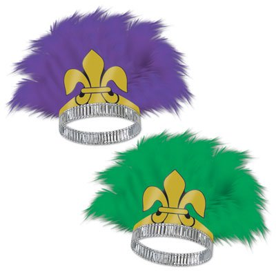 Fleur De Lis Tiaras (asstd green & purple) Party Accessory  (1 count)