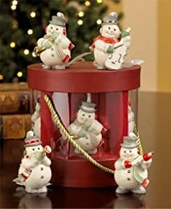 Lenox China Snowman Mini Ornaments Musical Quartet (Set of 4, 1 Each of Violin, Trumpet, Bass, Horn))