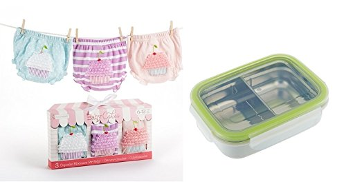 Baby Aspen, 3 Count Cupcake Bloomers Gift Set 0-6 months + Innobaby Stainless Snackbox - 1