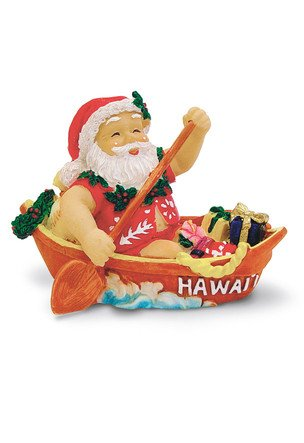 Hawaiian Canoeing Santa Ornament