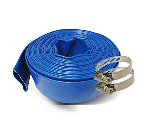 Schraiberpump 3-Inch by 100-Feet- General Purpose Reinforced PVC Lay-Flat Discharge and Backwash Hose - Heavy Duty (4 Bar) 2 CLAMPS INCLUDED (Color: Blue)
