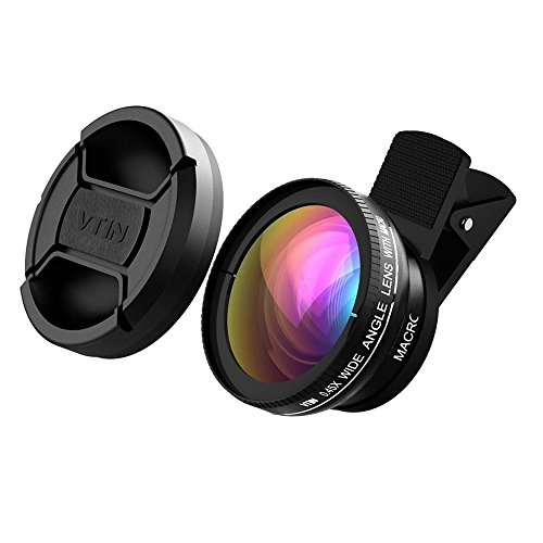 VTIN Universal Professional HD Camera Lens Kit for iPhone 7/ 7 Plus/ 6s / 6s Plus / 6 / 5s, Samsung Galaxy S6 / S5, Mobile Phone (0.45x Super Wide Angle Lens + 10x Super Macro Lens + 37mm Thread Clip Holder)