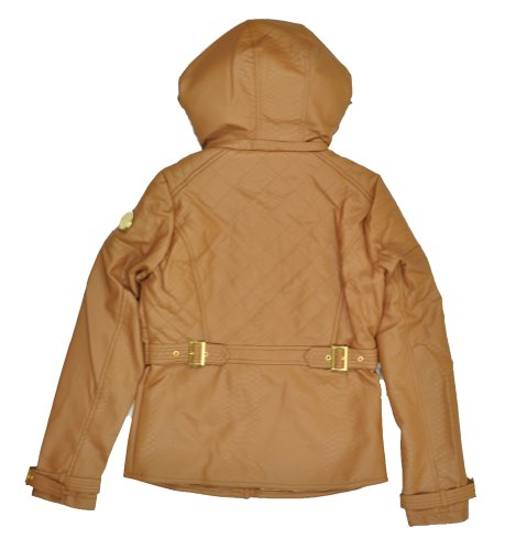 Rocawear Boroughs of Honor Women's PU Leather Hooded Jacket Brown Size S