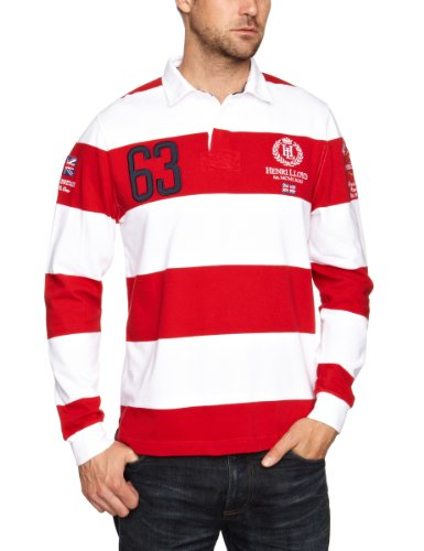 Henri Lloyd GB RWR Stripe Rugby Men's Jumper Marine Red Medium
