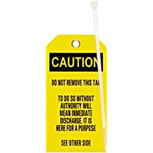 "Brady 76168 5-3/4"" Height, 3"" Width, B-851 Economy Polyester, Black On Yellow Color Blank Accident Prevention Tags (Pack Of 25)"