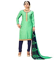 Krishna Present All New Design Of Green' Color Cotton Dress Material With Dupatta..