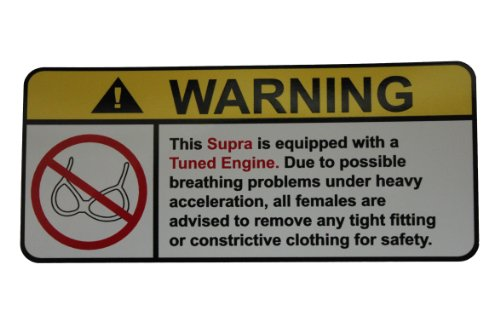 Toyota Supra Tuned Engine No Bra, Warning decal, sticker (Toyota Corolla Supercharger compare prices)