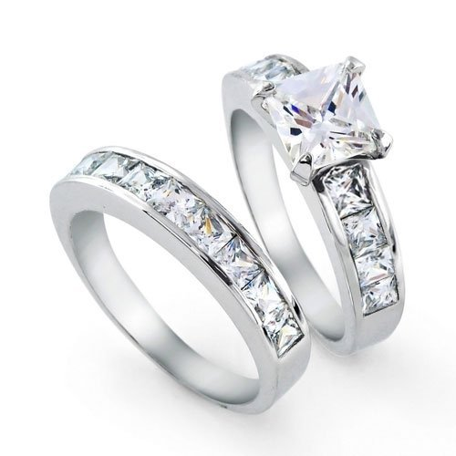 Bling Jewelry Sterling Silver 2ct CZ Princess cut Engagement Wedding Ring Set