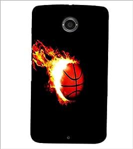 PrintDhaba Ball on Fire D-1227 Back Case Cover for MOTOROLA GOOGLE NEXUS 6 (Multi-Coloured)