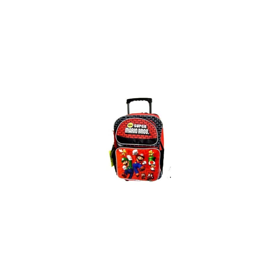 NINTENDO Super Mario Luigi Large Rolling Backpack with Insulated Lunch Tote Bag