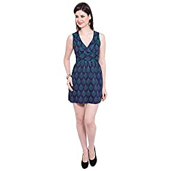 TUNTUK Women's Bhakti Dress Blue Cotton Dress