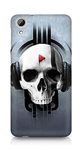 Amez designer printed 3d premium high quality back case cover for HTC Desrie 826 (Skull Music)