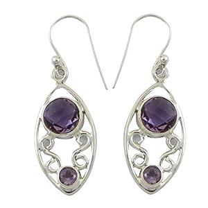 925 Sterling Silver Boucles d'oreilles Améthyste Pierre Pendants d'oreilles Cadeaux pour femme