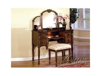 Dark Oak Finish Wood Vanity Set by Acme Furniture 2