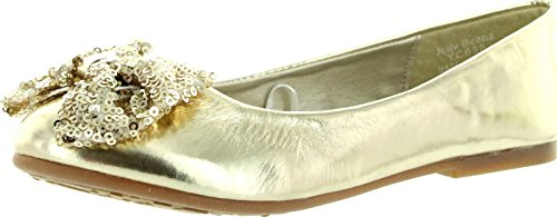 Jelly Beans Eta Round Toe Ballet Ballerina Flat Sequined Bow Accent (Toddler/Little Girl/Big Girl) - Gold Pu (Size: Toddler 9) front-955088