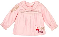 Infant Girls Blouse With Embroidery, Light Pink (6-12 Months)