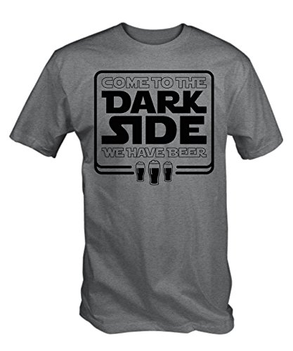 TBT Men's Come To The Dark Side We Have Beer T-Shirt Medium Ash Grey