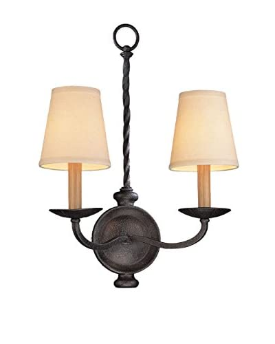 Shorewood Lighting Smithsonian 2-Light Wall Sconce, English Iron/Beige