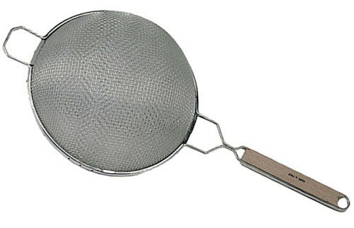 Update International SDF-10/SS Stainless Steel Fine Double Mesh Wooden Handle Strainer, 10-1/4-Inch