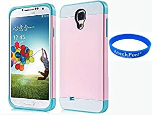 3D Prime strass scintillants TUFF Silicone Etui Coque Case Protection dur Housse de pour Samsung Galaxy S4 i9500 I9505 - Rose Rose + Blanc + Bleu clair
