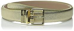 Cole Haan Women's Reversible Caviar To Dress Calf Belt, Gold/Maple Sugar, Medium