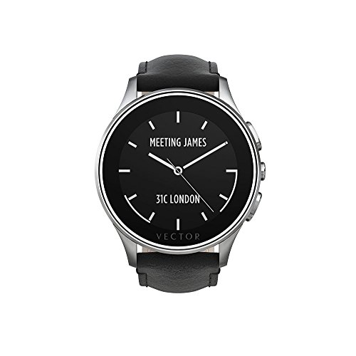 Vector Watch Polished Steel Case with Black Leather Strap