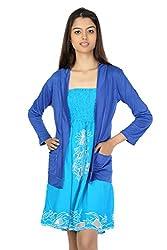 TeeMoods Womens Turquoise Tube Dress with Blue Shrug_TM-1103-M