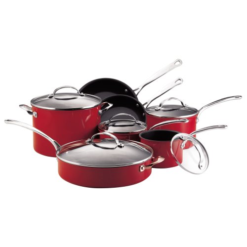 Review nonstick set kitchenaid gourmet reserved 12 piece nonstick hard base cookware set red - Kitchen aid pan set ...