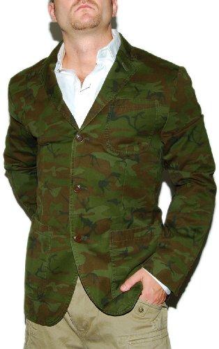 Polo Ralph Lauren Men Vintage Camo Blazer Sport Coat Jacket Army Green Brown 44R