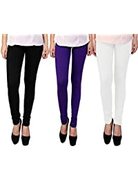 Snoogg Womens Ethnic Chic Inspired Churidar Leggings In Black, Purple And White