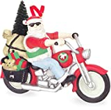 4.25 Santa Claus Riding Motorcycle with Christmas Tree Holiday Ornament
