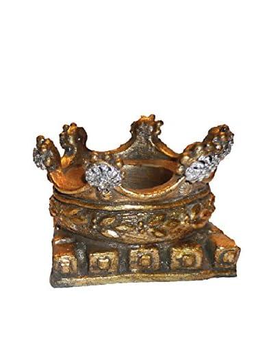 MAC Sculpture Philippe Crown Pedestal/Candle Holder, Antique Gold