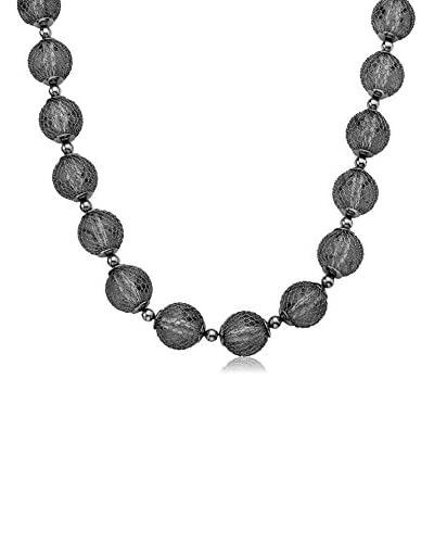 Riccova NE2449B-16E Country Chic Rhodium Mesh Over Lucite Balls Necklace As You See
