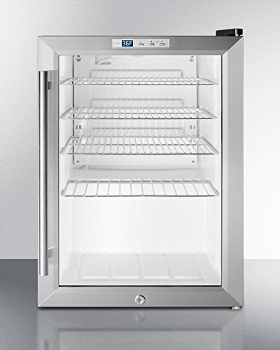 Summit SCR312L Commercially Approved Countertop Beverage Cooler With Glass Door, Black Cabinet, Front Lock, and Digital Thermostat; Replaces Scr310l (Glass Front Door Refrigerator compare prices)