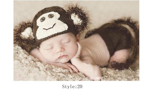 Crochet Knitted Baby Hat Cap Girl Boy Diaper Monkey Photography Prop Costume Set