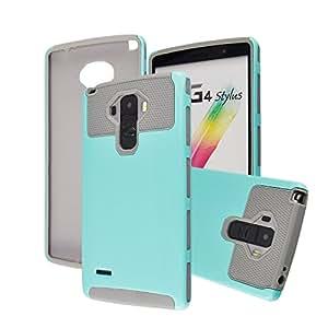 LG G Stylo Case, Sophia Shop Hard Plastic Silicone Protective Case Rubber Bumper Slim Heavy Duty Dual Layer Hybrid Shockproof Cover For LG G Stylo/LG G Stylus LS770 (Aqua+Grey)