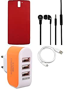 NIROSHA Cover Case Headphone USB Cable Charger for OnePlus One - Combo