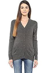 Ajile by Pantaloons Women's V-Neck Cardigan (205000005650178, Grey, Large)