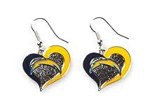 Aminco International NFL San Diego Chargers Sports Team Logo Swirl Heart Shape Dangle Earring Set