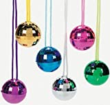 Pack of 12 - Rock Star Coloured Plastic Disco Ball Necklaces - Great Stocking Party Loot Bag Fillers