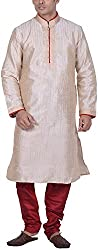 Kisah Men's Cotton Silk Kurta (KA-S-035K-42_Beige_42)