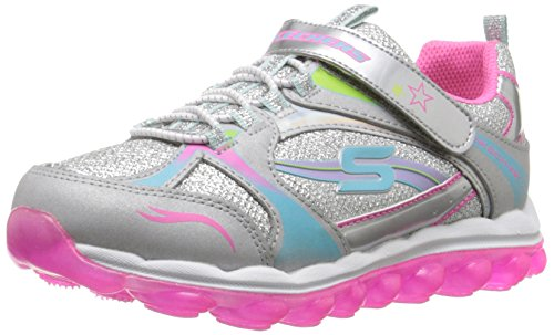 Skechers Kids Skech Air Bubble Beatz Bungee and Strap School Sneaker (Little Kid/Big Kid), Silver/Pink/Multi, 12 M US Little Kid (Air Supply Shoes compare prices)