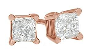 3/8 Carat Princess Cut Natural Diamond Solitaire 14K Rose Gold Stud Earrings