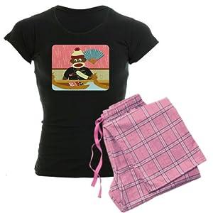 CafePress Sock Monkey Sushi Women's Dark Pajamas Women's Dark Pajamas