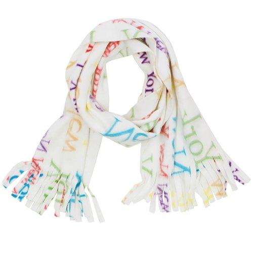 New York Color Letter Soft Fleece With Fringe Fashion Scarf Ivory Winter Scarves front-642657