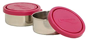 Kids Konserve KK074 Small Leak Proof Stainless Steel Round Food Containers, Magenta, Set of 2