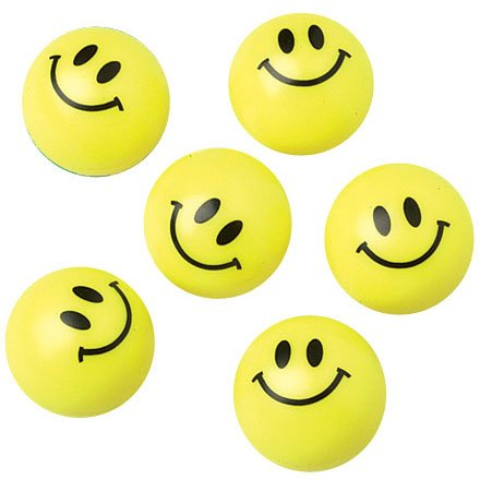 Smiley Face Plastic Ball Value Packed 12pcs - 1