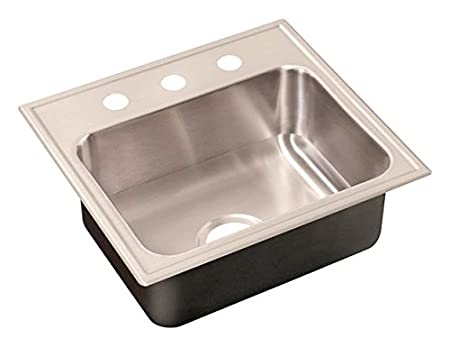 Just SL-2125-B-GR-3 Single Bowl 18-Gauge T-304 Stainless Steel Commercial Grade Drop In Sink