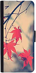 Snoogg Nature Leaves Reddesigner Protective Flip Case Cover For Sony Xperia Z...